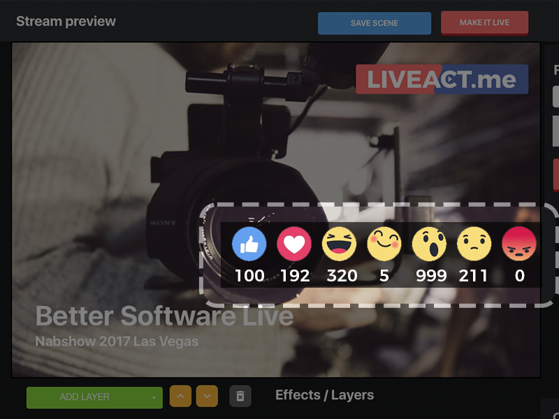 Live video with viewers interactions (Live Reactions)
